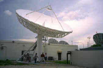 PanAmSat Homestead, Florida Ku-band uplink site using Viasat 11m earth station.  Waveguide run uses Tallguide TG115.